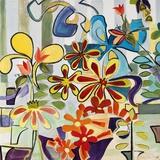 Happy Snappy Garden Lærredstryk af Joan Elan Davis