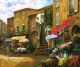 Flower Market Piazza Print on Canvas by Han Chang