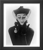 Anne Gunning in an Erik felt and Velvet Mandarin Hat with Veil, 1950 Print by John French