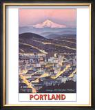 Poster of Mt. Hood over Portland, Oregon Prints