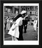 US Sailor Bending Young Nurse over His Arm to Give Her Passionate Kiss in Middle of Times Square Art by Victor Jorgensen