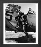 Female Pilot of the Us Women's Air Force Service Posed with Her Leg Up on the Wing of an Airplane Poster by Peter Stackpole