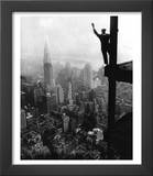 Man Waving from Empire State Building Construction Site Print