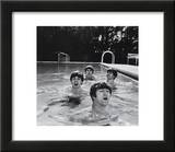 Paul McCartney, George Harrison, John Lennon and Ringo Starr Taking a Dip in a Swimming Pool Art