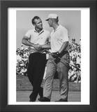 Golfer Jack Nicklaus and Arnold Palmer During National Open Tournament Print by John Dominis
