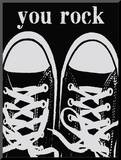 You Rock Black Sneakers Mounted Print by Lisa Weedn