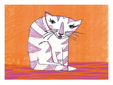Miezekatze Orange Giclee Print by Meike Toepperwien
