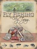 Flyf Fshing with Fly Tying Plaque en métal