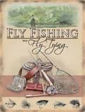 Flyf Fshing with Fly Tying Cartel de metal