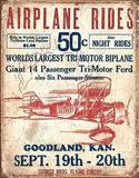 Secrist Flying Circus - Airplane Rides Tin Sign