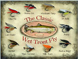 The Classic Wet Trout Fly Cartel de chapa