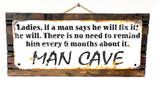 Fix It Man Cave Rusted Wood Sign