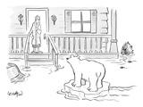 A Woman in her bathrobe steps out on her porch to see a flood surrounding … - New Yorker Cartoon Premium Giclee Print by Robert Leighton