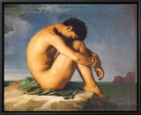 Young Male Nude, 1855 Framed Canvas Print by Hippolyte Flandrin