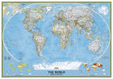 National Geographic - World Classic Map, Enlarged & Laminated Poster Posters af National Geographic