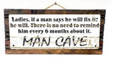Fix It Man Cave Vintage Wood Sign