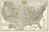 National Geographic - United States Executive, poster size Map Laminated Poster Posters af Geographic, National