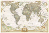 National Geographic - World Executive, Poster Size Map Laminated Poster 高画質プリント : ナショナルジオグラフィック