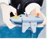 Point of View (Mai with Nintendo controller) Stretched Canvas Print by Miltos Manetas