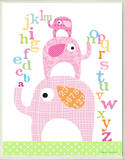 Girl's ABC Pink Elephants Rectangle Wood Sign