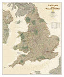 National Geographic - England & Wales Antique Map Poster Poster di Geographic, National