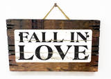 Fall in Love Vintage Wood Sign