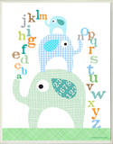 Boy's ABC Blue Elephants Rectangle Wood Sign