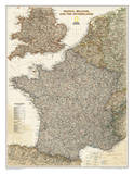 National Geographic - France, Belgium, and The Netherlands Executive Map Laminated Poster Affischer av Geographic, National