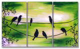 Birds On Wires Green Triptych Art Wood Sign