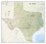 National Geographic - Texas Map Laminated Poster Affiches par National Geographic