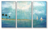 Azure Breeze Triptych Art Wood Sign