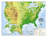 National Geographic - Kids Physical USA Education Map (Grades 4-12) Giant Poster Posters par National Geographic