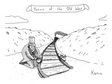 Villainous individual in old-western garb maliciously places sandwiches on… - New Yorker Cartoon Premium Giclee Print by Zachary Kanin