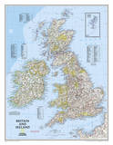 National Geographic - Britain and Ireland Classic Map Laminated Poster Stampe di Geographic, National