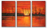 Autumn Sunset Triptych Art Wood Sign