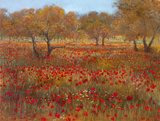 Poppy Fields In Red Poster by  Longo