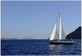 Sailboat on Aegean Sea Santorini Greece Plakat
