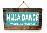 Hula Waikiki Teal Wood Sign