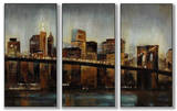 Lights on Bridge Triptych Art Wood Sign