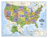 National Geographic - Kids Political USA Education Map (Grades 4-12) Giant Laminated Poster Posters af National Geographic