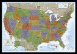 National Geographic - United States Decorator Map, Enlarged & Laminated Poster Posters af Geographic, National