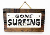 Gone Surfing Vintage Wood Sign
