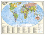 National Geographic - Laminated Kids Political World Education Map (Grades 4-12) Giant Poster Poster av Geographic, National