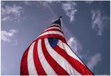 American Flag Against Blue Prints