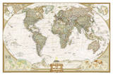 National Geographic - World Executive Map Laminated Poster Kunstdrucke von National Geographic