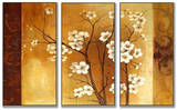 White Floral Crimson Back Triptych Art Wood Sign