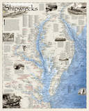 National Geographic - Shipwrecks of the Delmarva Map Laminated Poster Prints by National Geographic