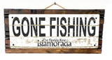 Gone Fishing Islamorada Vintage Wood Sign