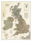 National Geographic - Britain and Ireland Executive Map Laminated Poster Posters by National Geographic