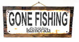 Gone Fishing Islamorada Rusted Wood Sign